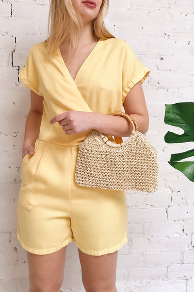 Trujjka Yellow Short Sleeve Wrap Romper | La petite garçonne on model