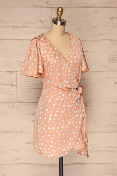 Tryphena Pink Short Sleeve Wrap Dress | La petite garçonne  side view