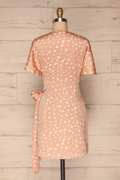 Tryphena Pink Short Sleeve Wrap Dress | La petite garçonne  back view