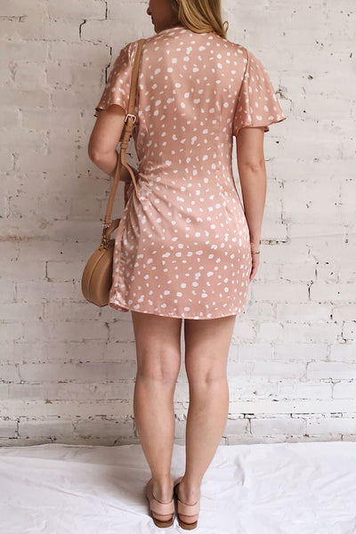 Tryphena Pink Short Sleeved Wrap Dress | La petite garçonne model back