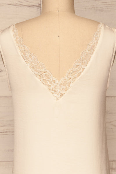 Tullow Cream Satin Camisole | Haut | La Petite Garçonne back close-up