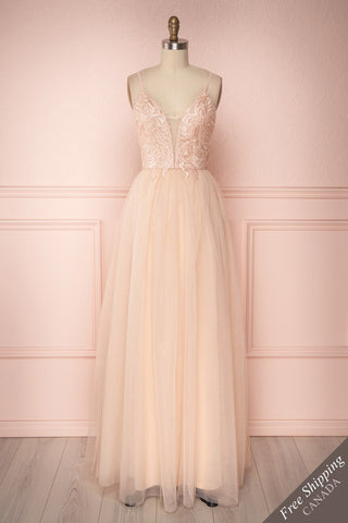 Tuppence Light Pink Shimmering A-Line Maxi Prom Dress | Boutique 1861