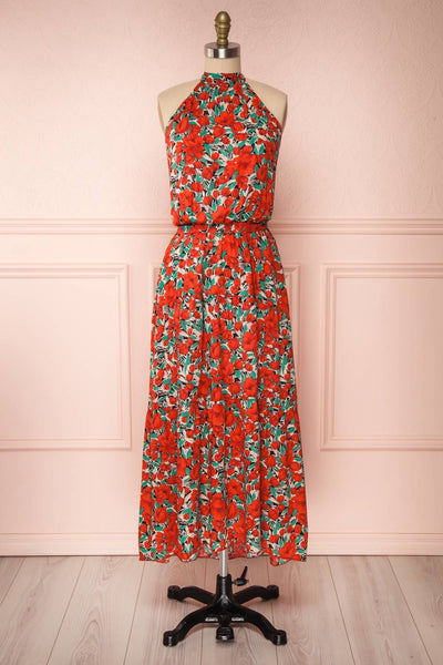 Tuvya Red Floral Halter Maxi Dress | Boutique 1861 front view