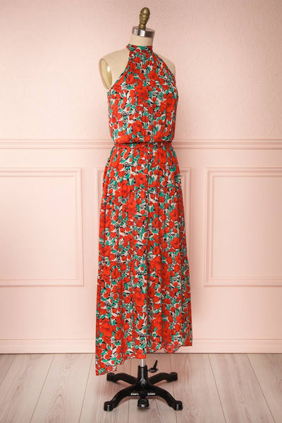Tuvya Red Floral Halter Maxi Dress | Boutique 1861 side view