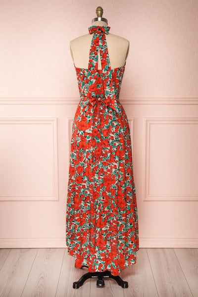 Tuvya Red Floral Halter Maxi Dress | Boutique 1861 back view