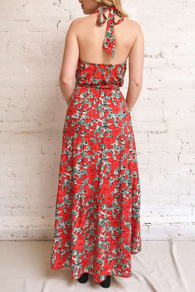 Tuvya Red Floral Halter Maxi Dress | Boutique 1861 model back