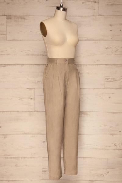 Tver Beige High-Waisted Straight Leg Pants side view | La petite garçonne