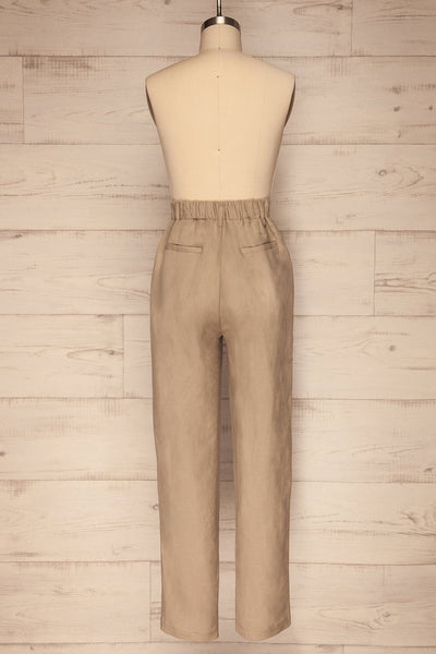 Tver Beige High-Waisted Straight Leg Pants back view | La petite garçonne
