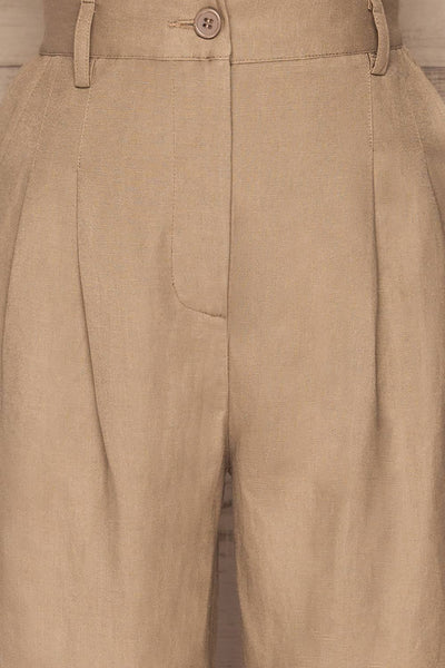 Tver Beige High-Waisted Straight Leg Pants fabric | La petite garçonne