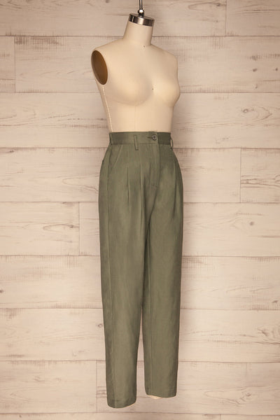 Tver Khaki High-Waisted Pants side view | La petite garçonne