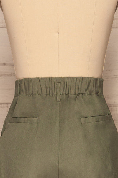 Tver Khaki High-Waisted Pants back view | La petite garçonne