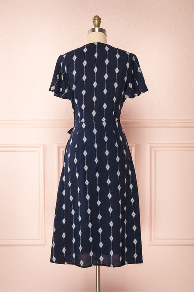Tyesha Navy Patterned Short Sleeve Wrap Dress | Boutique 1861