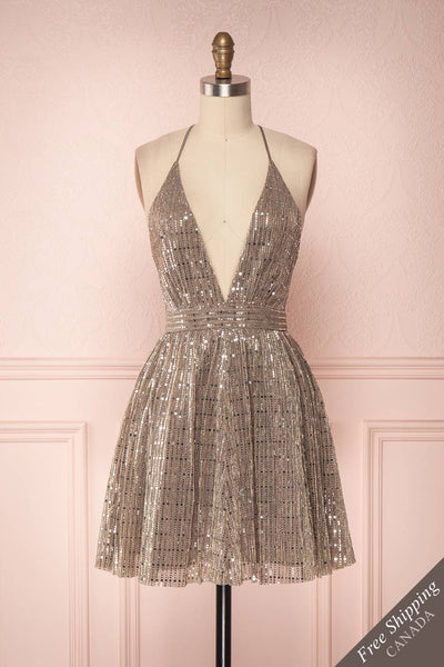 Tziona Silver & Golden Metallic Party Dress | Boutique 1861