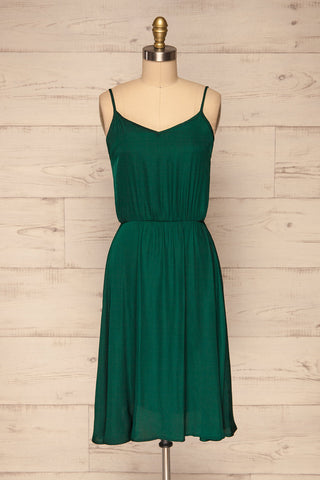 Udine Emerald Green Dress | Robe Verte front view | La Petite Garçonne