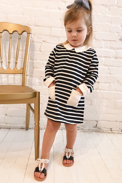 Ugny Mini Navy Striped Kids Tunic Dress | La Petite Garçonne model look