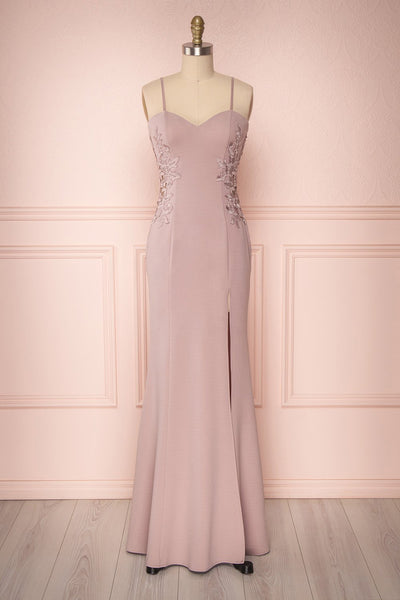 Ulianna Mauve Bustier Mermaid Gown with Lace | Boudoir 1861