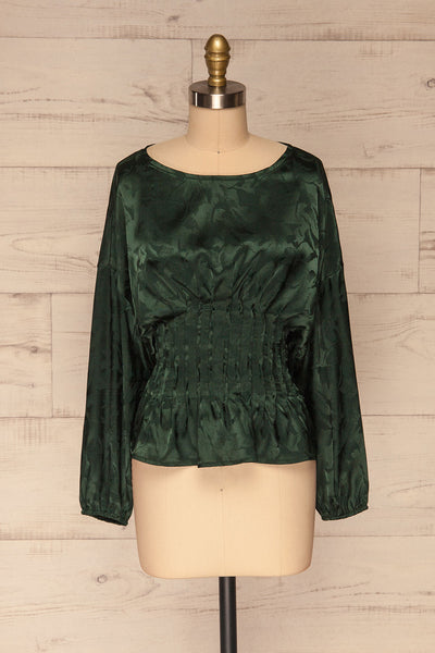 Ulm Green Pleated Puffy Sleeve Silky Top | La petite garçonne front view