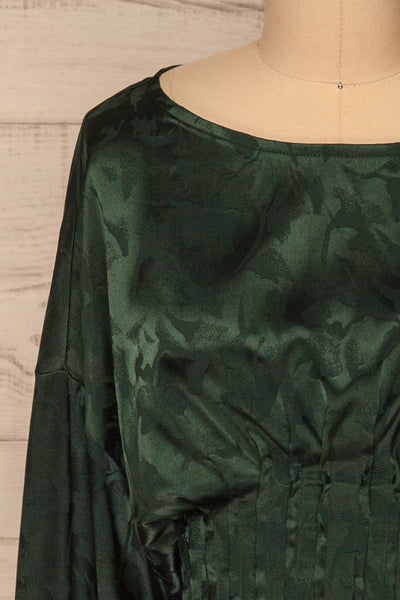 Ulm Green Pleated Puffy Sleeve Silky Top | La petite garçonne front close-up