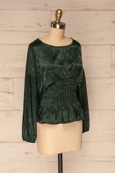 Ulm Green Pleated Puffy Sleeve Silky Top | La petite garçonne side view