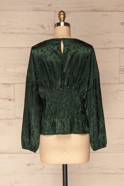 Ulm Green Pleated Puffy Sleeve Silky Top | La petite garçonne back view