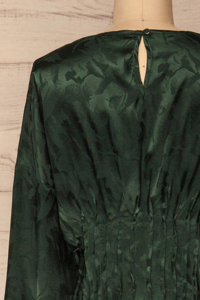 Ulm Green Pleated Puffy Sleeve Silky Top | La petite garçonne back close-up