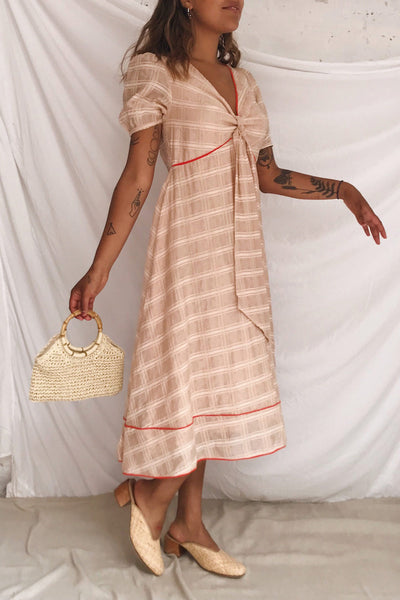 Umbragine Beige Short Sleeve Midi Dress | Boutique 1861 model look
