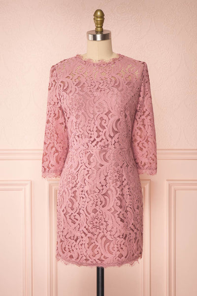 Undine Lilac Short Lace Dress w/ 3/4 Sleeves | Boutique 1861 front view