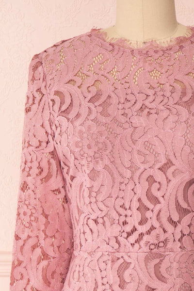 Undine Lilac Short Lace Dress w/ 3/4 Sleeves | Boutique 1861 front close-up