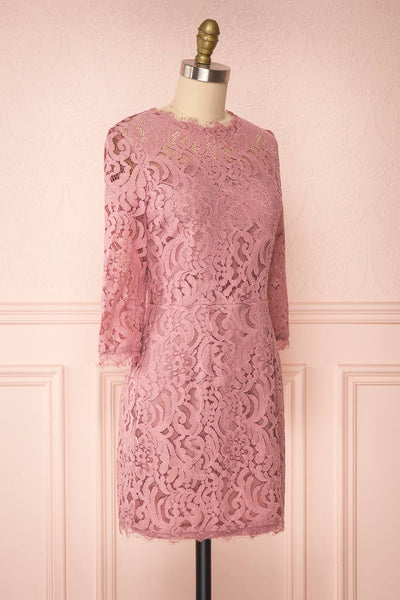Undine Lilac Short Lace Dress w/ 3/4 Sleeves | Boutique 1861 side view