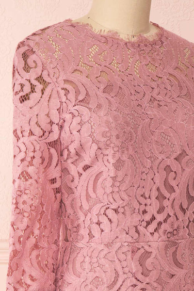 Undine Lilac Short Lace Dress w/ 3/4 Sleeves | Boutique 1861 side close-up
