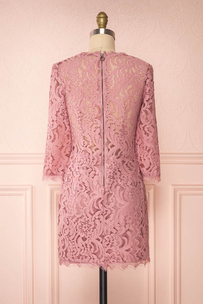 Undine Lilac Short Lace Dress w/ 3/4 Sleeves | Boutique 1861 back view