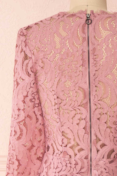 Undine Lilac Short Lace Dress w/ 3/4 Sleeves | Boutique 1861 back close-up