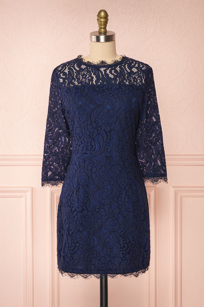 Undine Navy Short Lace Dress w/ 3/4 Sleeves | Boutique 1861 front view