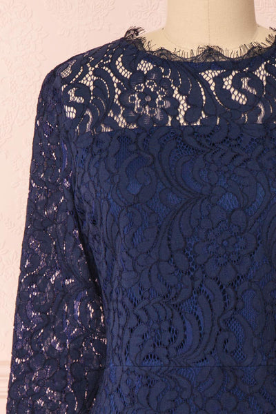 Undine Navy Short Lace Dress w/ 3/4 Sleeves | Boutique 1861 front close-up