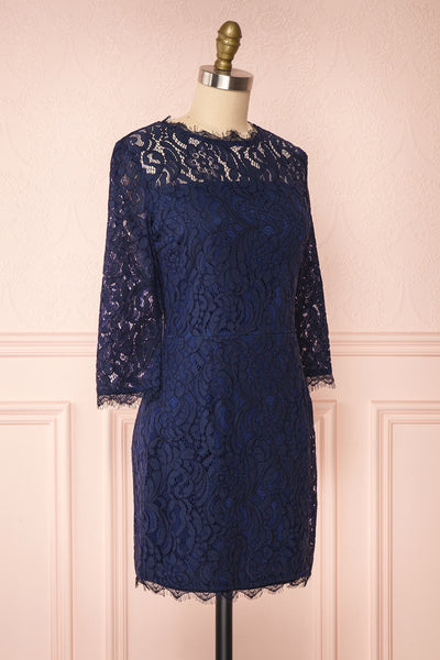 Undine Navy Short Lace Dress w/ 3/4 Sleeves | Boutique 1861 side view