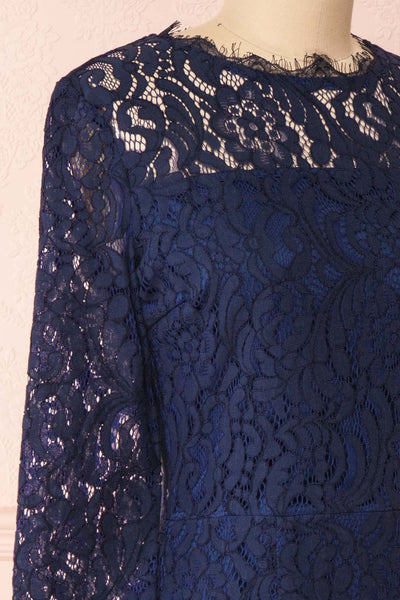Undine Navy Short Lace Dress w/ 3/4 Sleeves | Boutique 1861 side close-up