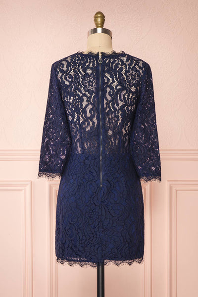 Undine Navy Short Lace Dress w/ 3/4 Sleeves | Boutique 1861 back view
