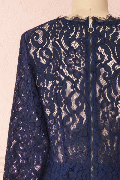 Undine Navy Short Lace Dress w/ 3/4 Sleeves | Boutique 1861 back close-up