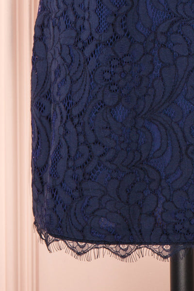 Undine Navy Short Lace Dress w/ 3/4 Sleeves | Boutique 1861 bottom