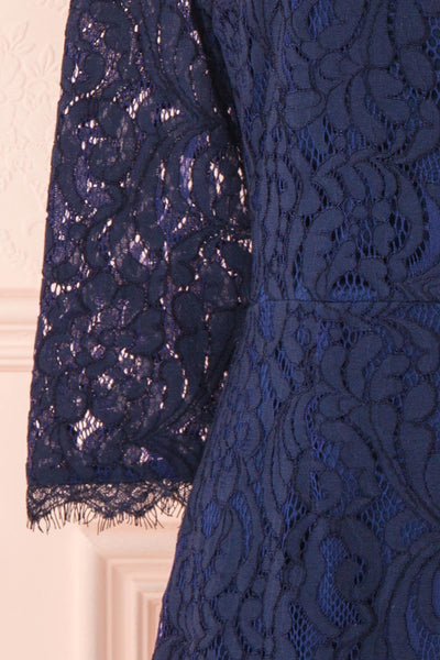 Undine Navy Short Lace Dress w/ 3/4 Sleeves | Boutique 1861 sleeve
