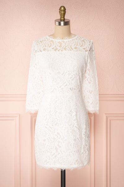 Undine White Short Lace Dress w/ 3/4 Sleeves | Boutique 1861 front view