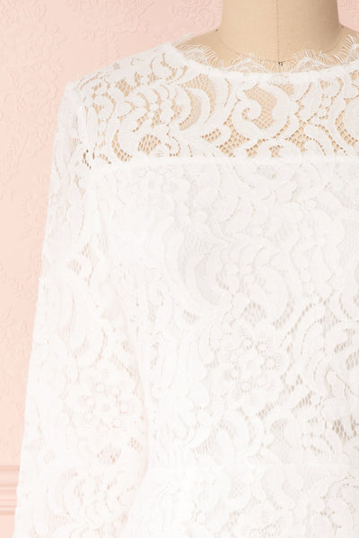 Undine White Short Lace Dress w/ 3/4 Sleeves | Boutique 1861 front close-up