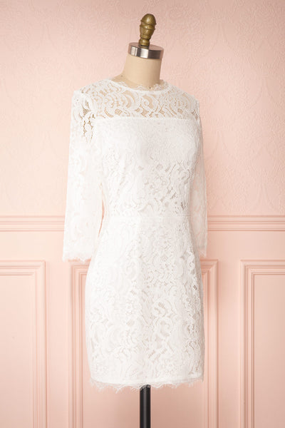Undine White Short Lace Dress w/ 3/4 Sleeves | Boutique 1861 side view