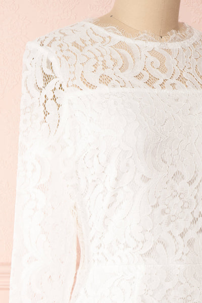 Undine White Short Lace Dress w/ 3/4 Sleeves | Boutique 1861 side close-up
