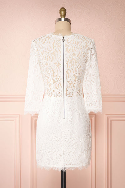 Undine White Short Lace Dress w/ 3/4 Sleeves | Boutique 1861 back view