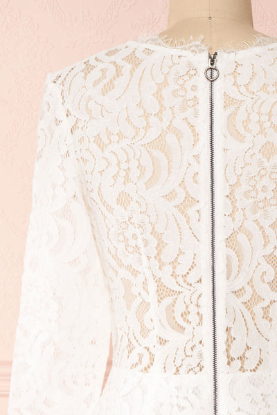Undine White Short Lace Dress w/ 3/4 Sleeves | Boutique 1861 back close-up
