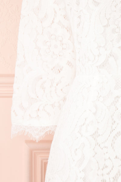 Undine White Short Lace Dress w/ 3/4 Sleeves | Boutique 1861 sleeve