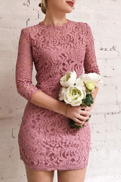 Undine Lilac Short Lace Dress w/ 3/4 Sleeves | Boutique 1861 on model