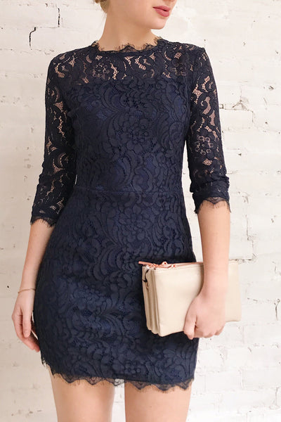 Undine Navy Short Lace Dress w/ 3/4 Sleeves | Boutique 1861 on model
