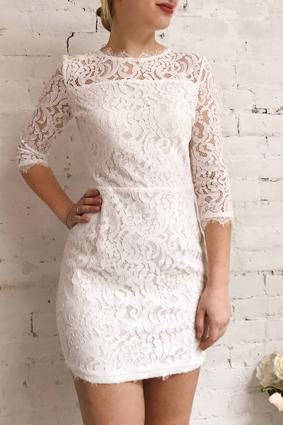 Undine White Short Lace Dress w/ 3/4 Sleeves | Boutique 1861 on model